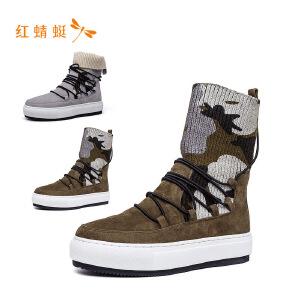 【专柜正品】红蜻蜓个性撞色系带中跟时尚女靴子