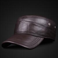 真皮帽子秋冬季男士头层牛皮平顶帽中老年保暖加厚夹棉护耳鸭舌帽