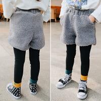 女童时尚短裤加棉保暖 冬装2017新款童装儿童羊羔毛裤休闲裤子