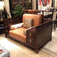 新中式实木沙发组合现代别墅客厅雕花沙发禅意轻奢样板房家具定制 组合