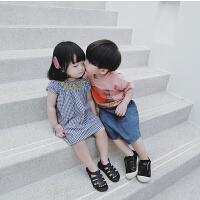 女宝宝夏季新款手�格子套装儿童小女孩韩版可爱时尚短袖短裤套