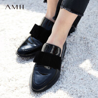 Amii极简chic欧货潮平底单鞋女2018秋时尚尖头绒面蝴蝶结牛皮革鞋.