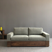 北欧复古胡桃木沙发床羽绒储物推拉沙发床布艺工业风沙发 123CM (单人床)卡其灰色 1.8米-2米