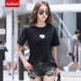 Coolmuch女士夏季简约百搭丝光棉印花小雏菊圆领短袖T恤衫ZRB2012