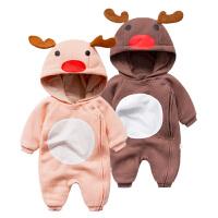 婴儿连体衣服冬季0岁5个月宝宝冬装8新生儿加厚爬爬服外出服
