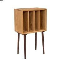 北欧风格杂志柜白橡木全实木沙发边柜黑胡桃木储物柜简约具书柜 0.6米以下宽