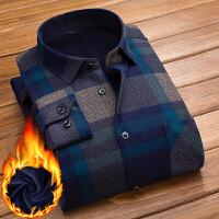 新款保暖衬衫男士长袖加绒加厚格子衬衣中年爸爸装