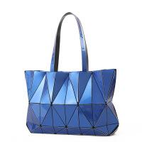 2018新款菱格女包 韩版时尚手提包镭射包三宅同款折叠单肩女包 蓝色