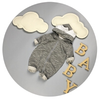 宝宝秋装男纯棉新生儿连体衣春秋0-3-6个月婴儿外出服潮哈衣爬服