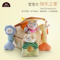 婴儿玩具0-1岁新生儿毛绒布艺摇铃套装男女孩宝宝安抚玩偶