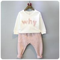女童春休闲字母短款套头卫衣 哈伦裤两件套儿童套装 173130