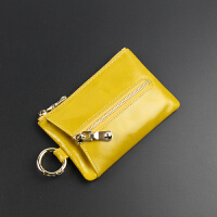 新款女士钥匙包 皮牛皮拉链多功能男女士零钱包汽车钥匙扣 柠檬黄 实物偏深