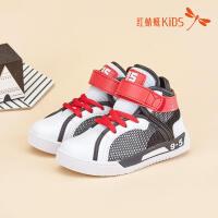 红蜻蜓童鞋韩版皮网拼接镂空透气魔术贴高帮舒适儿童休闲鞋