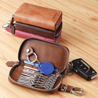 钥匙包男士大容量真皮复古拉链多功能汽车锁匙包头层牛皮女式