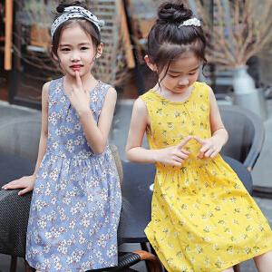 乌龟先森 儿童连衣裙 女童夏季韩版新款时尚雪纺圆领露肩碎花公主裙中大童款式裙子