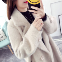 开衫毛衣女中长款外套宽松韩版2018新款冬装大衣针织