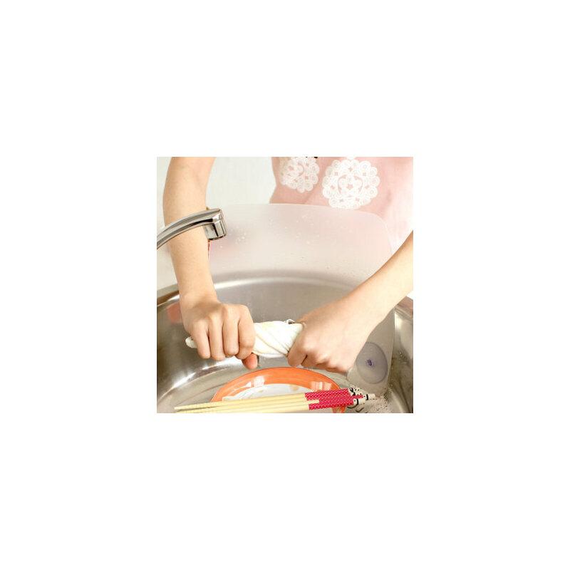 日式创意厨房用品 透明磨砂水池防溅挡水板 吸盘水槽挡板