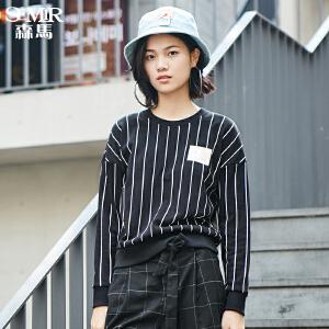森马卫衣女新款冬女士条纹套头卡通字母印花长袖韩版潮上衣