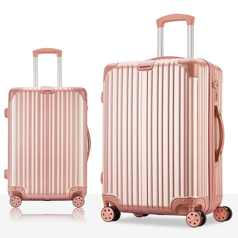 拉杆箱万向轮行李箱旅行箱男女登机密码箱皮箱子20/22寸24/26寸潮 玫瑰金 A款防刮拉丝纹发货周期:一般在付款后2-90天左右发货,具体发货时间请以与客服协商的时间为准