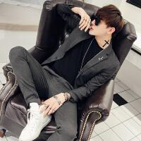 2018新款两粒单排扣西装男韩版修身纯色商务休闲西服套装男士正装