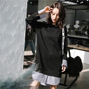 卫衣连衣裙女长袖新款韩版时尚百搭学生衬衫裙子假两件