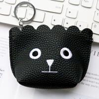 韩国可爱创意女生零钱包迷你拉链卡包耳机收纳袋耳机装饰包 黑色 黑色-1