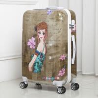美女拉杆箱学生男行李箱女小清新万向轮旅行箱女密码拉链女皮箱子 复古美女 20寸