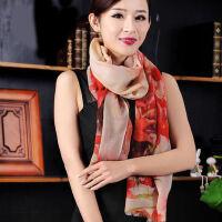 韩版丝巾女羊毛围巾女士春秋冬季韩版百搭印花长款披肩