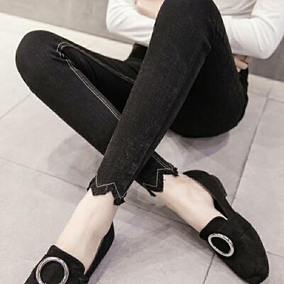 九分裤女铅笔小脚裤薄款2018夏季仿牛仔紧身长裤黑色打底裤女外穿 8933 长裤 发货周期:一般在付款后2-90天左右发货,具体发货时间请以与客服协商的时间为准