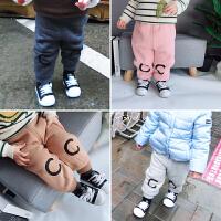 冬季婴幼儿宝宝双层加绒加厚保暖运动裤印花打底裤冬款0-5
