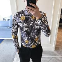 18春季新款男士长袖衬衫 青年个性复古印花潮衬衫1810现货