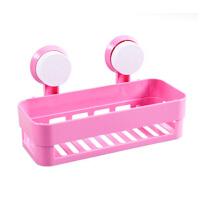 浴室方形强力双吸盘置物架 浴室卫生间收纳架 粉色
