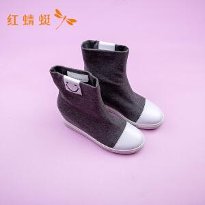 红蜻蜓女鞋冬季新款休闲女靴厚底中筒靴子女靴
