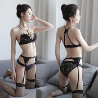 情趣内衣套装透视装黑色三点式吊带丝袜透明极度诱惑用品