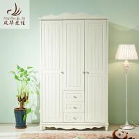 韩式田园三门实木质衣柜 欧式小衣橱平拉开门卧室家具 3门