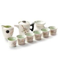 雪花釉功夫茶具套装家用特价整套茶壶杯公道杯茶漏侧把壶陶瓷