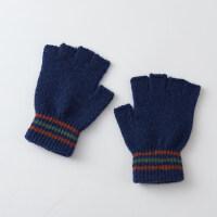 露指手套男冬季保暖韩版魔术漏指手套男毛线针织