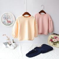 2018女童春装卫衣新款韩版上衣童装泡泡长袖T恤小童打底