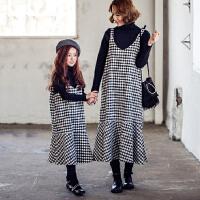 女童吊带裙秋冬2017新款韩版儿童亲子装长裙中大童格子无袖连衣裙