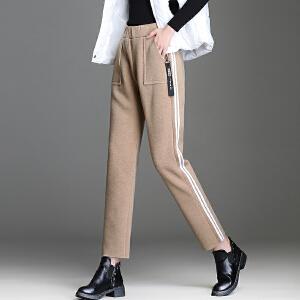 毛呢休闲裤女秋韩版新款时尚贴边女装直筒裤chic运动休闲裤女
