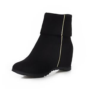 ELEISE美国艾蕾莎新品秋冬150-15-32韩版磨砂绒面内增高女士女靴短靴