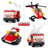 【当当自营】小鲁班创意N变系列儿童益智拼装积木玩具 火警组4款装M38-B0593