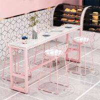 粉色大理石吧台桌甜点店吧台桌椅组合靠墙高脚桌ins长桌家用北欧