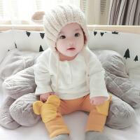 婴儿装宝宝t恤童长袖加绒打底衫0岁3个月7新生儿上衣季冬装