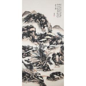 W1761 黄宾虹(款)《归舟》(原装旧裱满斑)