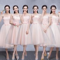 韩式婚礼毕业晚礼服小礼服中长款姐妹裙伴娘服2018新款花朵伴娘团
