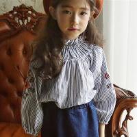 女童娃娃衫秋装韩国童装纯棉条纹绣花T恤中大儿童长袖公主上衣