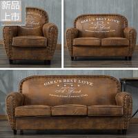 欧式美式单人双人三人沙发小户型咖啡厅酒吧租房复古服装店小沙发定制