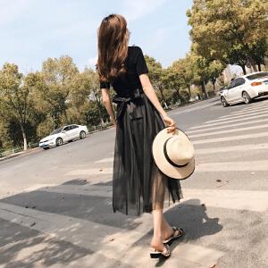 2018新款韩版春夏季ins港味裙子复古黑色收腰长裙网纱连衣裙女