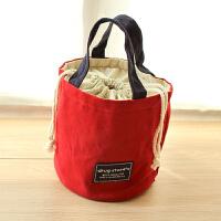 便当包饭盒袋条纹帆布手提袋午餐包 圆形复古妈咪手拎包 红色